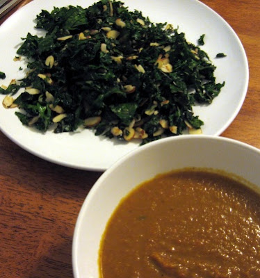 carrot soup with bean broth and garlic almond kale