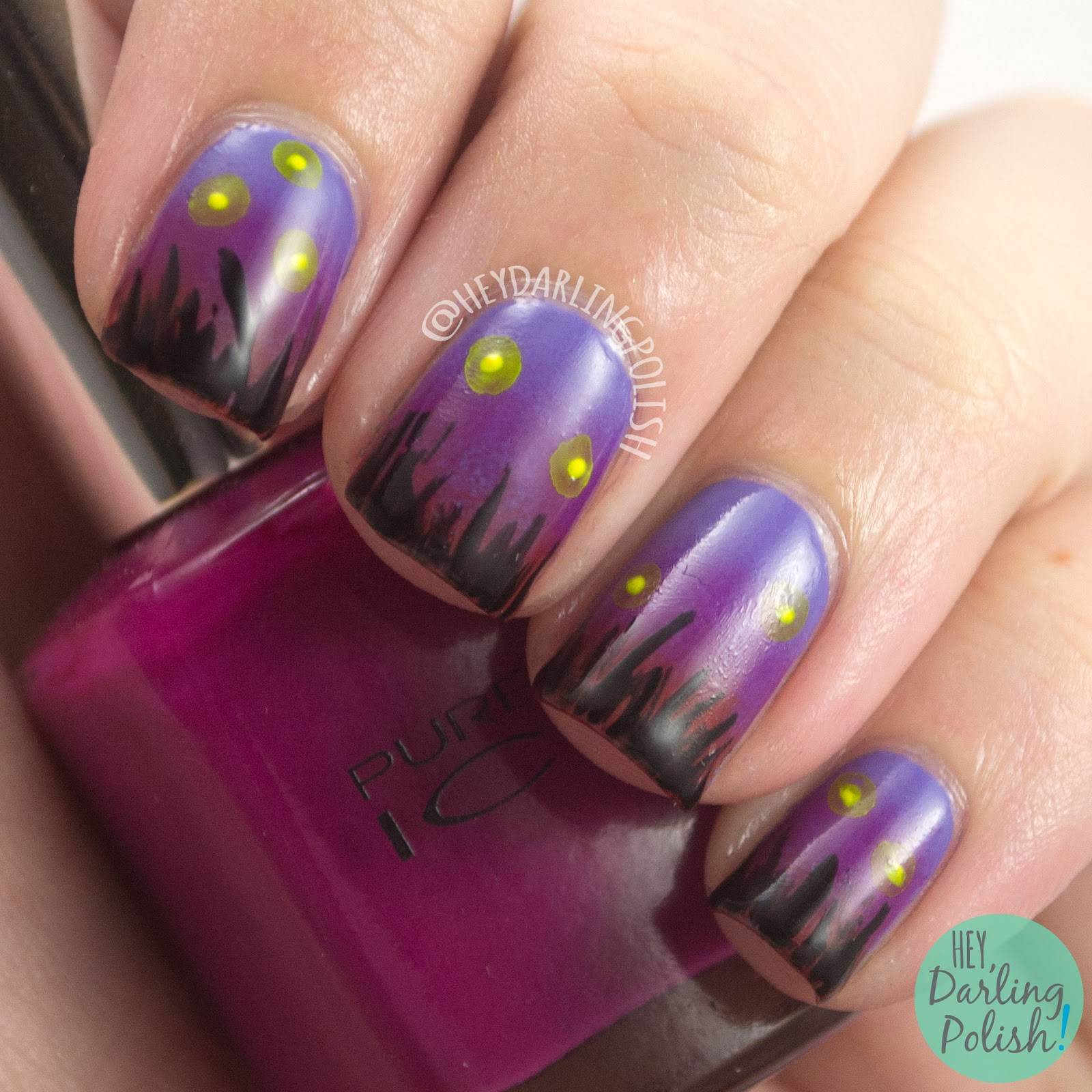 nails, nail art, nail polish, gradient, sunset, fireflies, hey darling polish, 52 week challenge, free hand