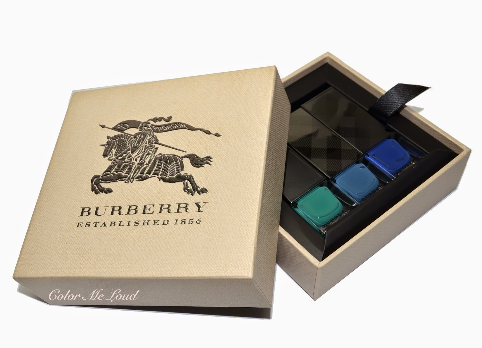 Burberry Nail Polish #418 Aqua Green, #431 Stone Blue and #429 Imperial Blue