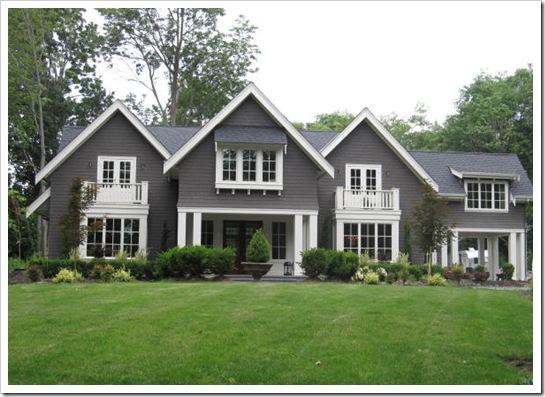 Dark Grey House with White Trim