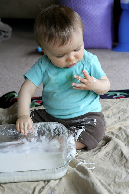 Super Easy Sensory Play: Cornstarch and Water from Fun at Home with Kids