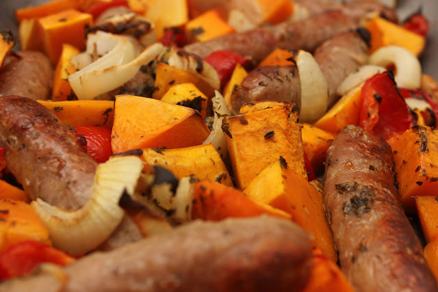 Roast of sausages and butternut squash