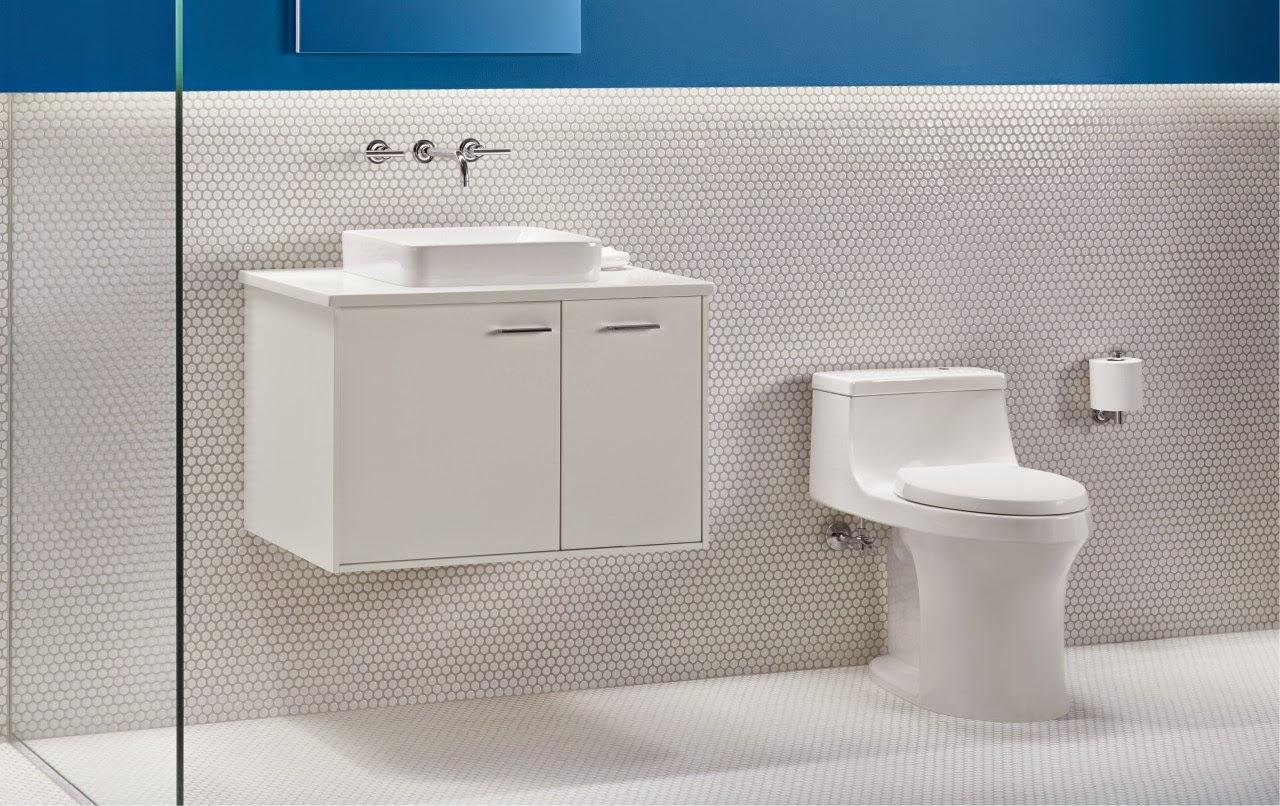 Bồn cầu và vòi nước tối giản độc đáo