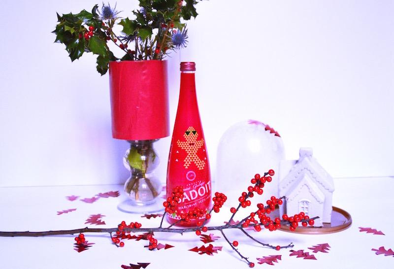 Bouquet de Noël avec du Houx et branche de sapin,bouteile badoit Noël,Maison de noel glacé sous cloche Picard