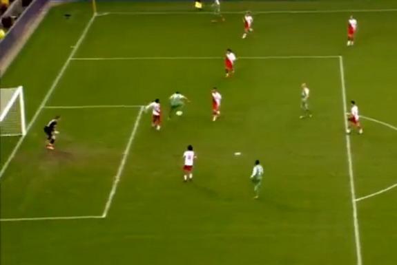 Feyenoord player Graziano Pellè executes a backheel flick to score against Utrecht