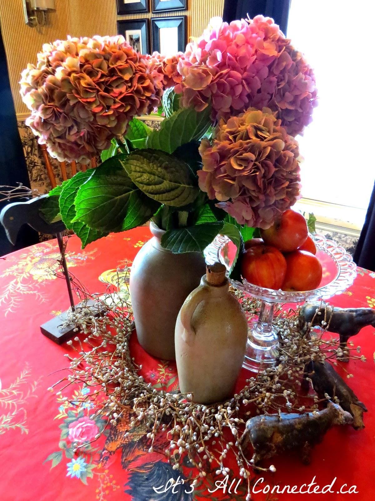Stoneware Crock Dining Room Table Arrangement