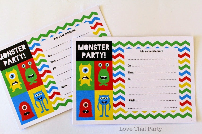 Image of children's monster birthday party invitations with multi-coloured chevron stripes