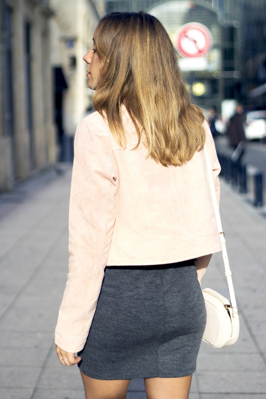 Veste suédine rose paste