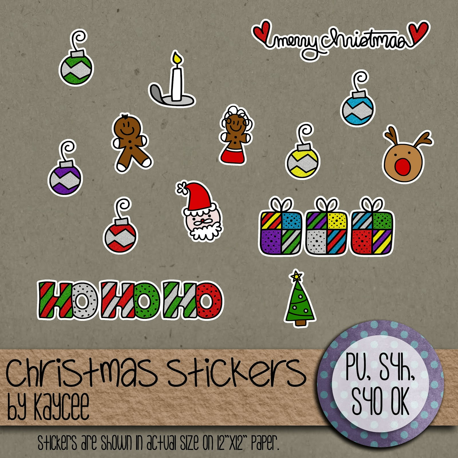 "Free scrapbook ""Christmas stickers"" from Kaycee"