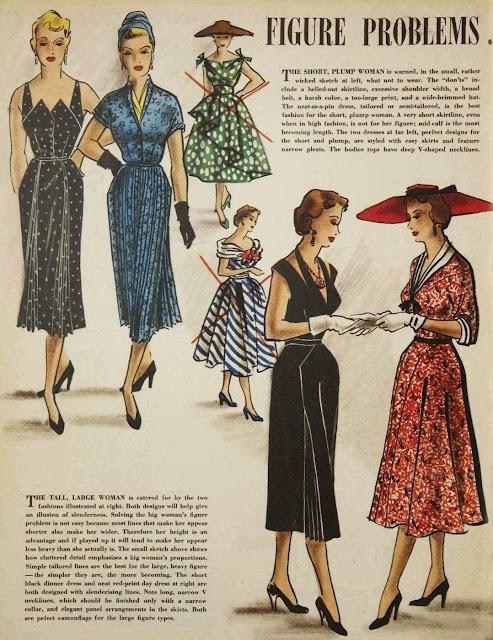 Fashion illustration solving figure problems with fashion, 1953