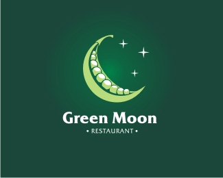 Green Moon Logo Design