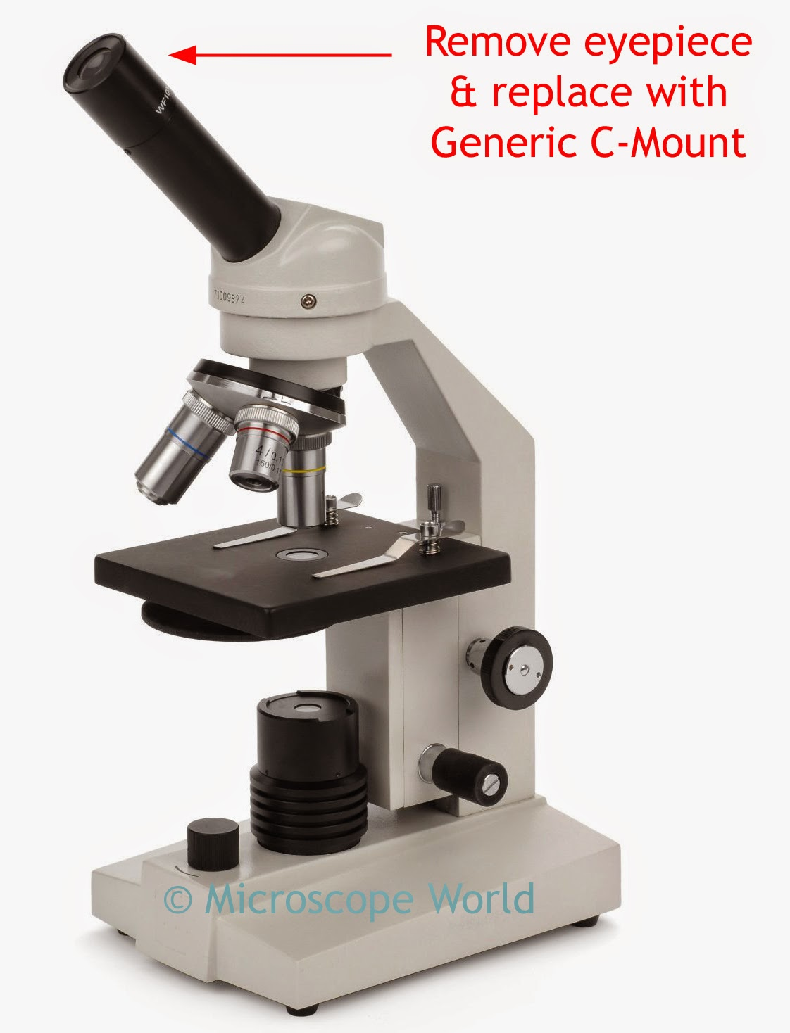 Replacing high school microscope eyepiece with c-mount camera adapter