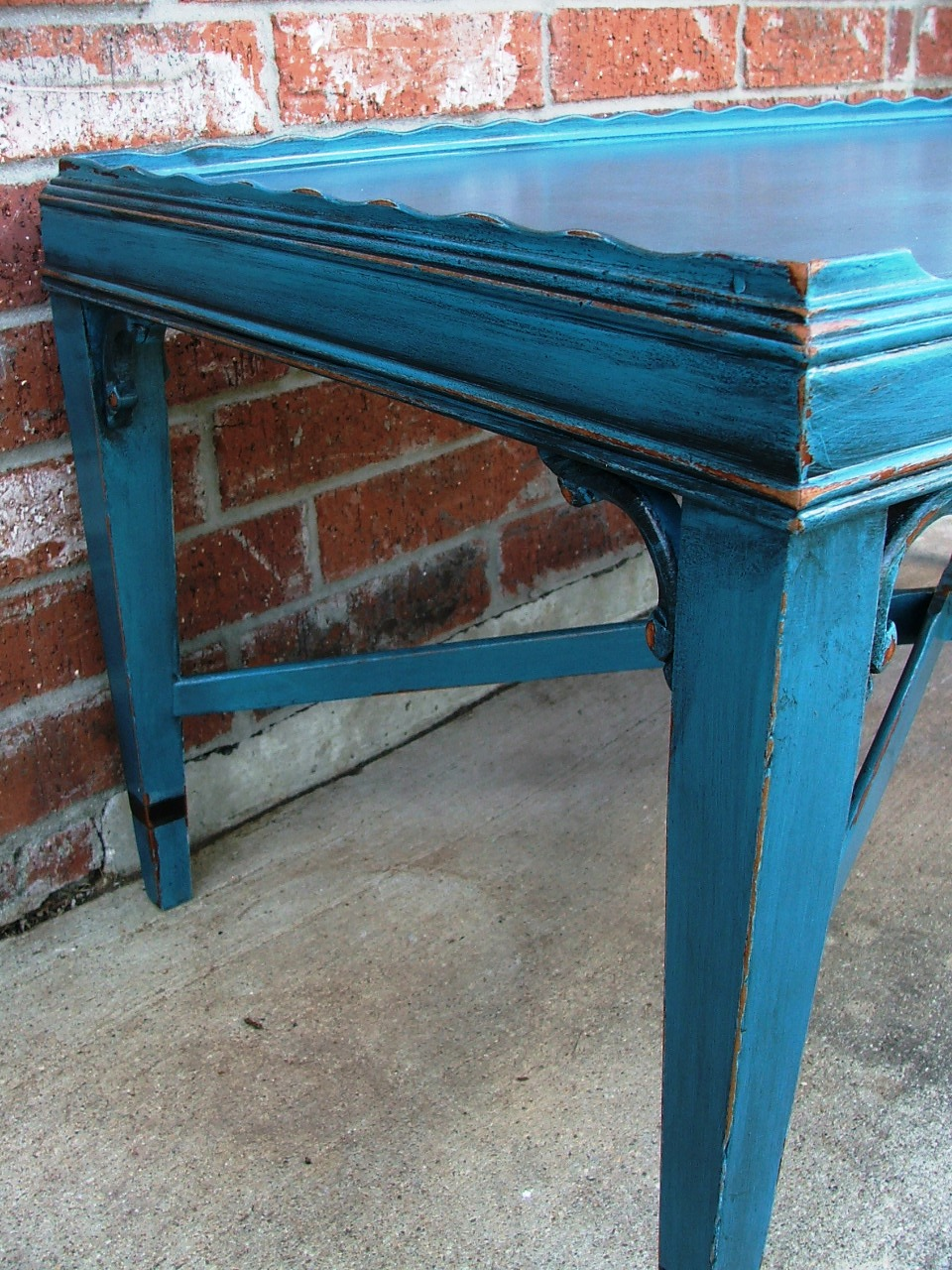 Antique peacock blue coffee table facelift furniture for Peacock coffee table
