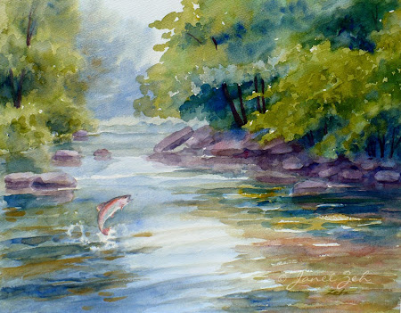 Trout Stream River Painting in watercolor