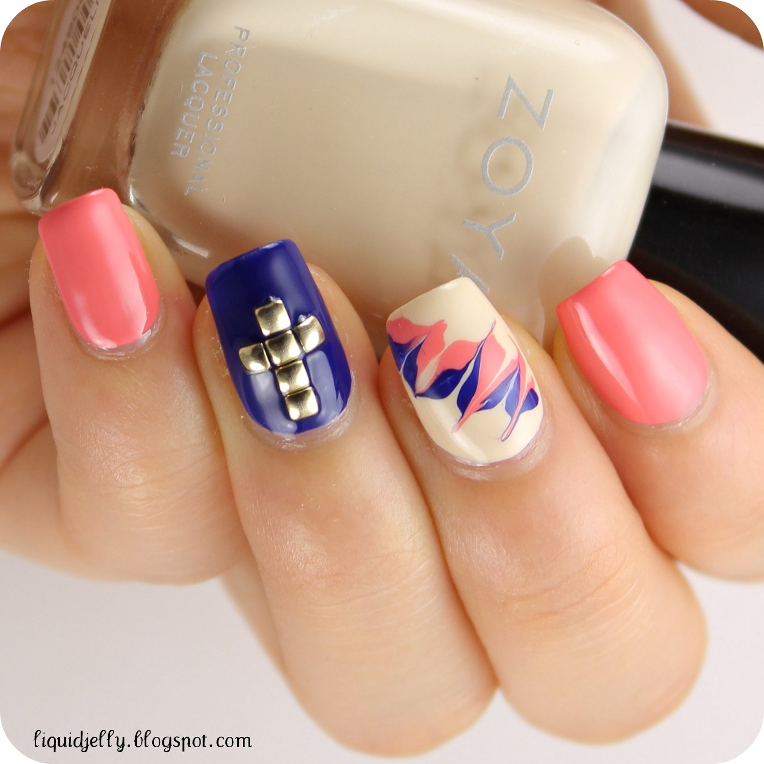 Liquid Jelly: Studded Cross Nail Art