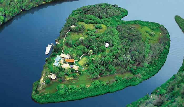 Private island in Noosa River in Queensland, Australia
