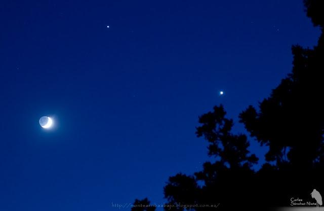 Conjunción Luna, Júpiter y Venus vista desde el sur de Gredos
