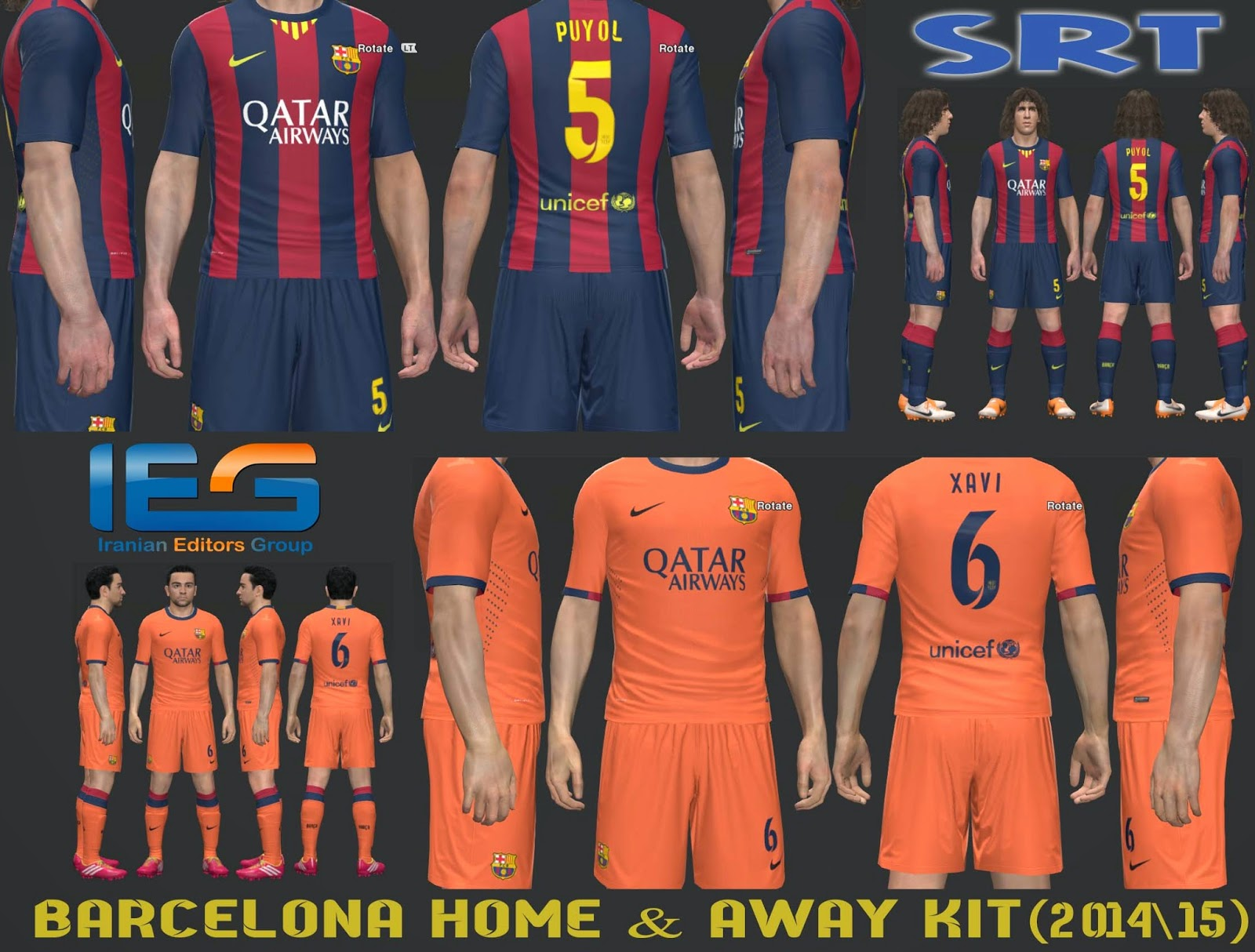 PES 2014 Barcelona Home & Away Kit 2014-15 by SRT