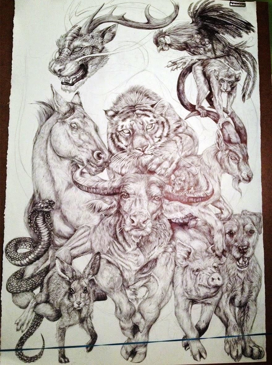 Increíble poster de los animales del zodíaco