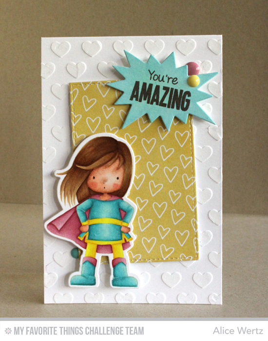 You're Amazing Card by Alice Wertz featuring the Birdie Brown You're Super stamp set and Die-namics and the Staggered Hearts stencil #mftstamps