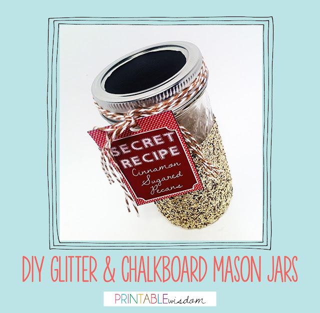 DIY Glitter  Chalkboard mason jars Tutorial by PrintableWisdom