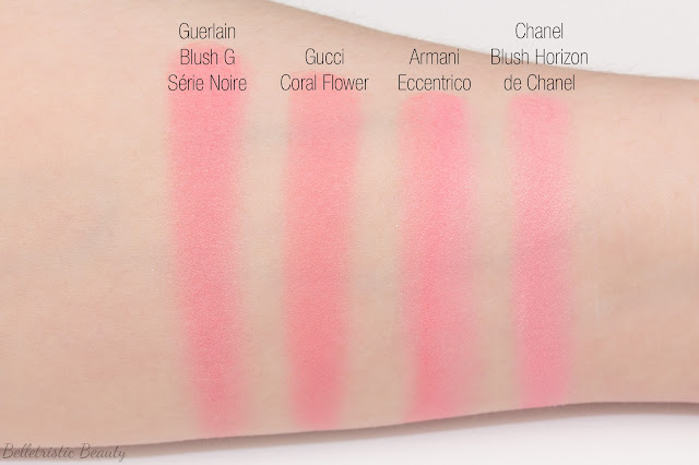Gucci Makeup 020 Tuscan Storm Magnetic Color Eye Shadow Eyeshadow Quad Palette and Coral Flower Sheer Blushing Powder Blush swatch comparison