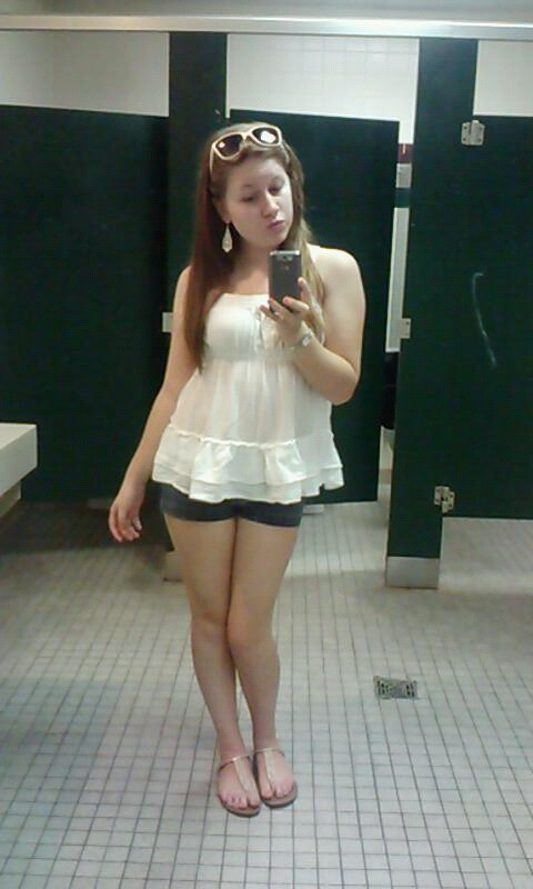 white top, babydoll top, white, jean shorts, jorts, petite blogger, white sunglasses, gold sandals, lace trim, long hair, mirror pictures, phone photos, awkward