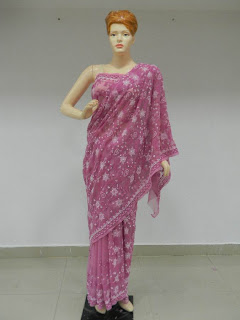 lavender Chikankari Saree online
