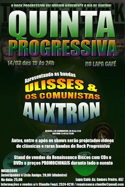 Cartaz Invasão Progressiva no Lapa Café, dia 14/3
