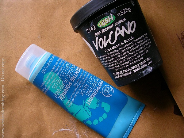 lush volcano foot mask and scrub bodyshop peppermint purifying reviews