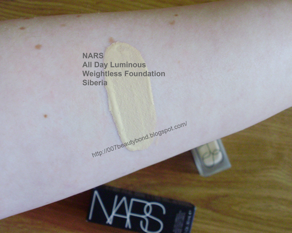 swatch Siberia NARS All Day Luminous Weightless Foundation fair skin