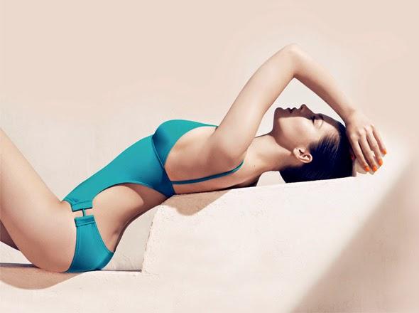 joli maillot de bain couleur turquoise  une pièce collection 2014 tendance de mode