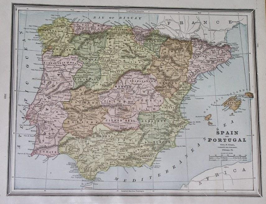 España y Portugal, George F. Cram 1890