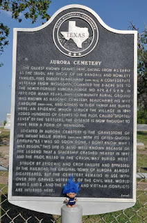 Historical marker at Aurora Cemetery