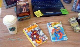fondant books,comics and starbucks cup