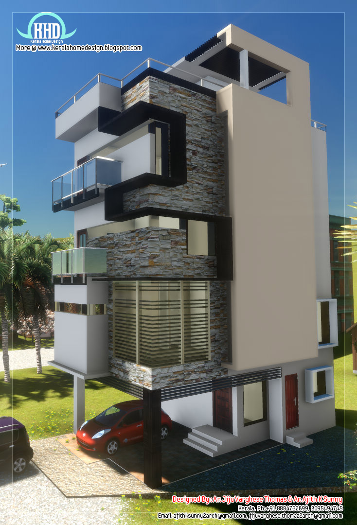3 floor contemporary narrow home design kerala home for Narrow home designs
