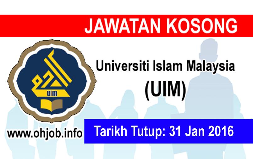 Jawatan Kerja Kosong Universiti Islam Malaysia (UIM) logo www.ohjob.info januari 2016