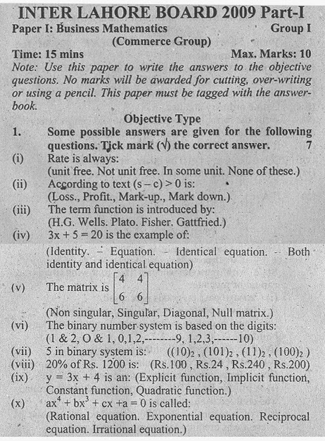 Business Mathematics Part I Objective Type, Lahore board 2009 Grp I
