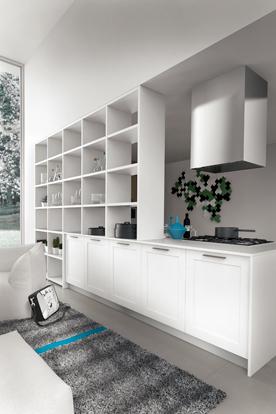 Cuisine avec lot blanc et s paration de pi ce design par - Separation de piece en bois ...