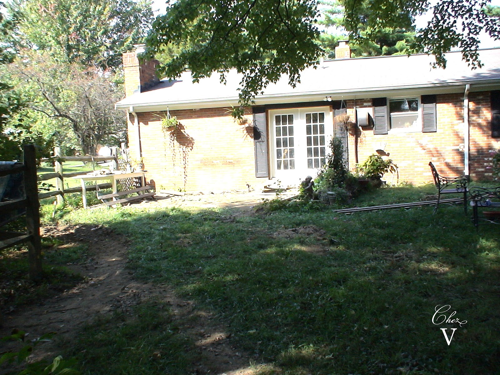 The Deck Was Just Over That Dirt Patch From The French Doors To Fence