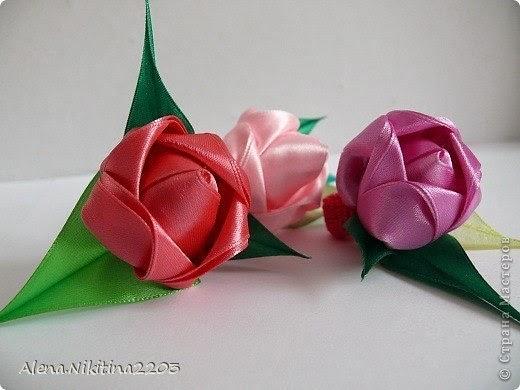 Тюльпаны из ленты своими руками 282