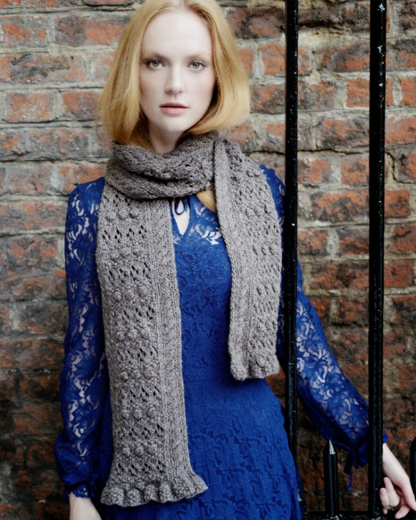 Medley scarf is amde from undyed, natural British Alpaca yarn