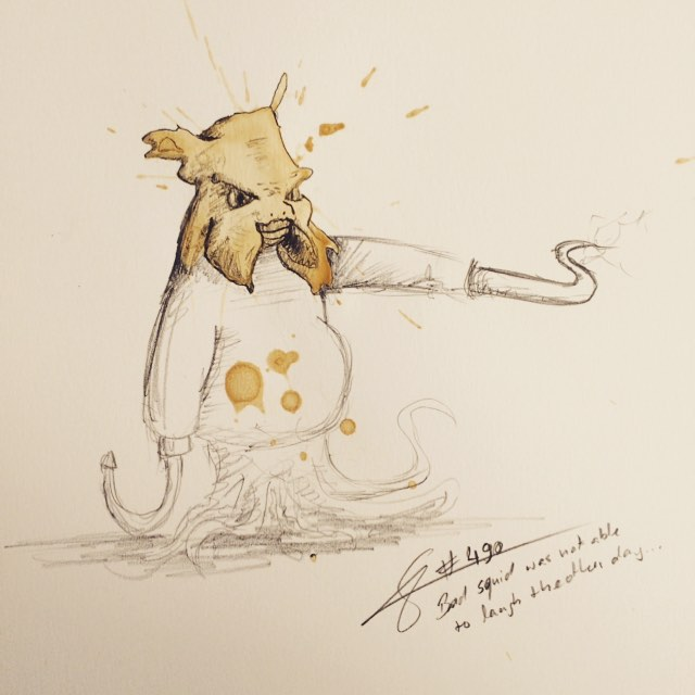 22-Squid-Stefan-Kuhnigk-Monster-Drawings-within-Coffee-Stains-www-designstack-co