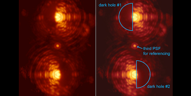 Double image of the star Eta Crucis taken through the vector-APP coronagraph installed at MagAO. The two main images of the star exhibit D-shaped dark holes on complementary sides. Coronagraphic phase pattern designed by Christoph Keller (Leiden). Credit Leiden University, University of Arizona