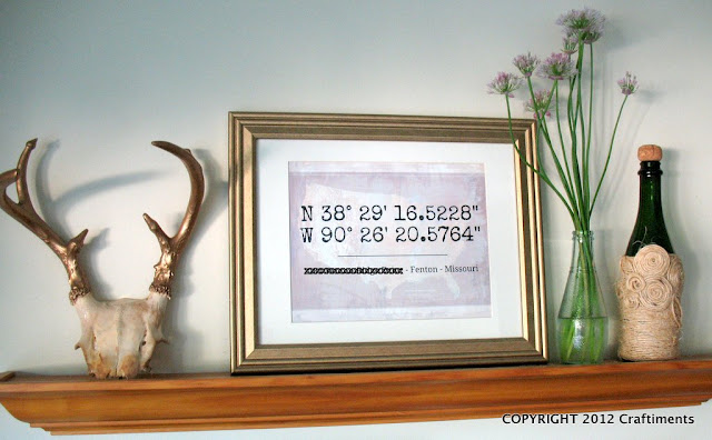 Craftiments.com:  Latitude Longitude Artwork