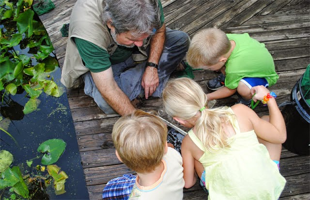 with kids and newts