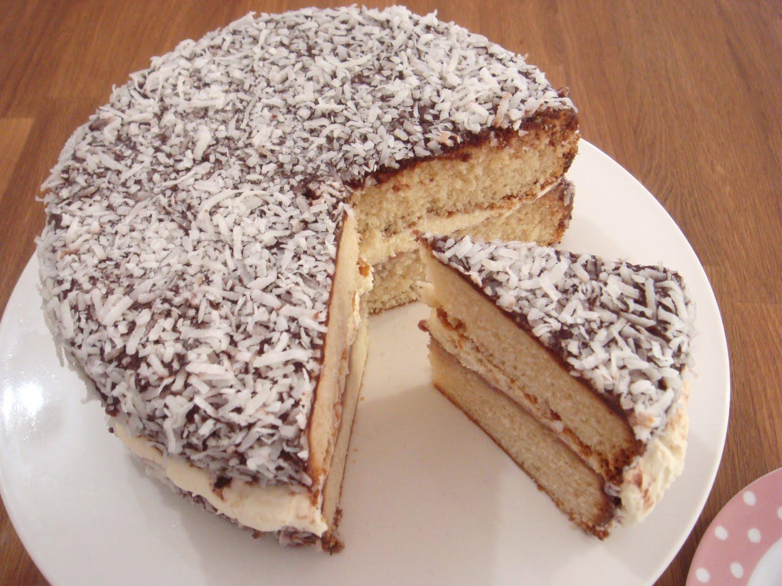 butter hearts sugar: Lamington Cake