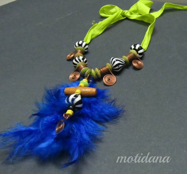 tribal necklace , feathered inspiration ,mixed-media, handmade jewelry