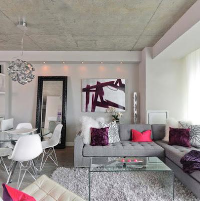 Sala con techo concreto sin pulir