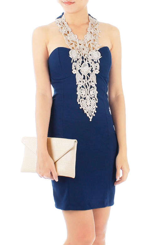 Midnight Blue Elfin Crochet Lace Dress